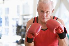 man boxing at gym - stock photo
