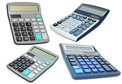 Calculators with an autonomous power supply Stock Photos