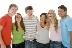 portrait of teenage girls and boys - stock photo