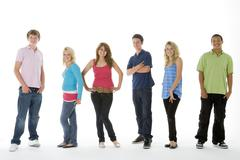 group shot of teenagers - stock photo