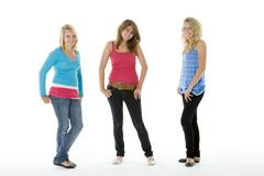 full length portrait of teenagers - stock photo