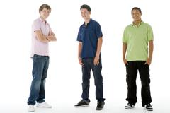 full length portrait of teenage boys - stock photo