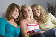 teenage girls at home - stock photo
