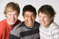 portrait of teenage boys - stock photo
