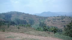 Vehical shot of shelf farming in Rwanda Africa Stock Footage
