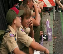 Boy Scouts watch parade Stock Footage