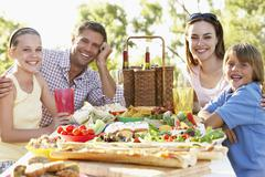 Family Dining Al Fresco - stock photo