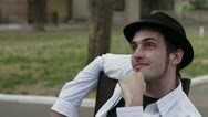 Thoughtful man in the hat Stock Footage
