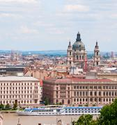 view on pest, budapest, hungary - stock photo