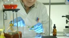 Botanist testing plant samples Stock Footage