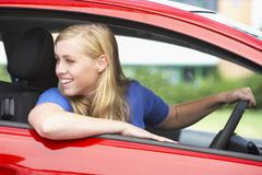 Teenage Girl Sitting In Car Stock Photos