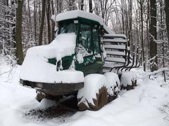 Stock Photo of snowbound timber vehicle