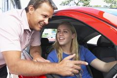 Teenage Girl Learning How To Drive Stock Photos