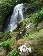 waterfall at the azores - stock photo