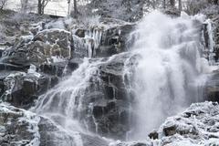 Todtnau waterfall at winter time Stock Photos