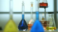 Dolly right laboratory glassware Stock Footage