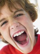 Portrait Of Boy Shouting Stock Photos