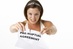 Stock Photo of Bride Tearing Up Pre-Nuptial Agreement