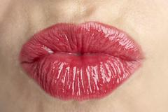 Extreme Close-Up Of Middle Aged Woman's Lips Stock Photos
