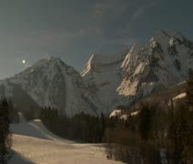 Unsteady shot of mountains above ski resort Stock Footage
