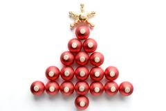 Christmas Tree Made From Baubles Against White Background Stock Photos