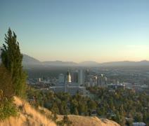 establishing shot of Salt Lake City at sunset - stock footage