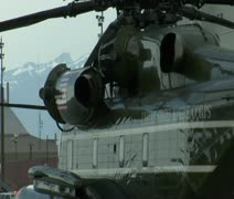 Side shot of Presidential Marine helicopter Stock Footage
