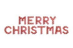 Red Christmas Baubles Spelling Merry Christmas Against White Background - stock photo