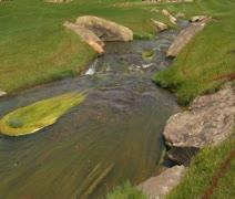 Tilt up as stream flows through golf course Stock Footage