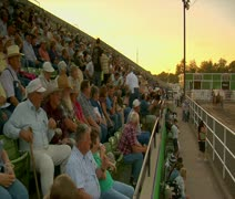 crowd watches draft horse competition - stock footage