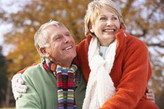 Portrait Of Senior Couple Hugging Stock Photos