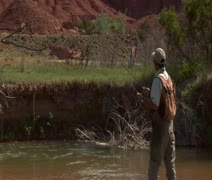 Medium shot of fly fisherman in stream with red rock cliffs Stock Footage