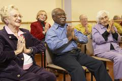 Stock Photo of Senior adults in a stretching class