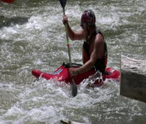 tired man paddles white-water kayaking slow-motion - stock footage
