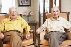 Stock Photo of Senior men relaxing in armchairs