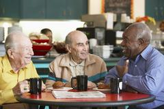 Senior men drinking tea together - stock photo