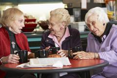Senior women drinking tea together - stock photo