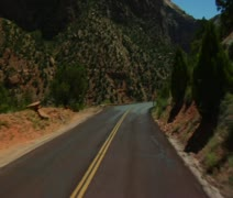 Sped-up driving shot through Zions National Park Stock Footage