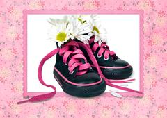 Daisy bouquet in sneakers Stock Illustration