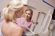 Stock Photo of nurse assisting patient undergoing mammogram