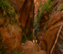 Family hiking, pan up to redrock cliffs - stock footage