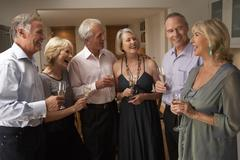 Friends Enjoying A Glass Of Champagne At A Dinner Party Stock Photos