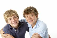 Two Brothers Playing - stock photo
