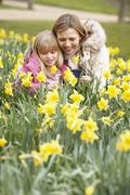 Mother And Daughter In Daffodils - stock photo