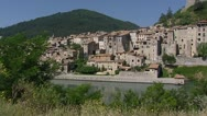 Stock Video Footage of Sisteron village at Durance river tilt up citadel la Baume