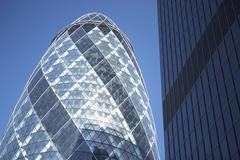 Glass Exterior Of Swiss Re Tower, London, England Stock Photos