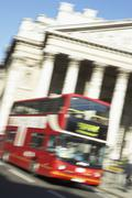 Bus Driving Past Royal Exchange Stock Photos