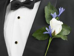 Man Wearing A Suit With A White Rose Corsage Stock Photos