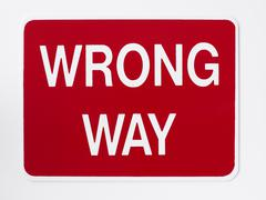 Wrong Way Road Sign Stock Photos