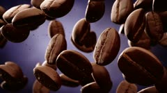 Falling coffee beans slow motion energy morning diet - stock footage
